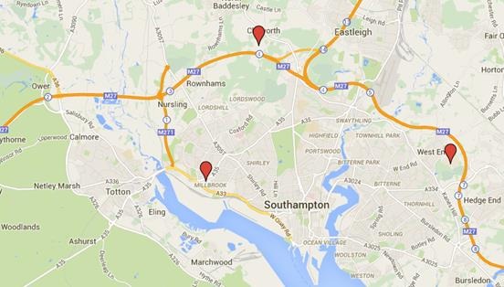 map of Wessex Specialist Physio locations